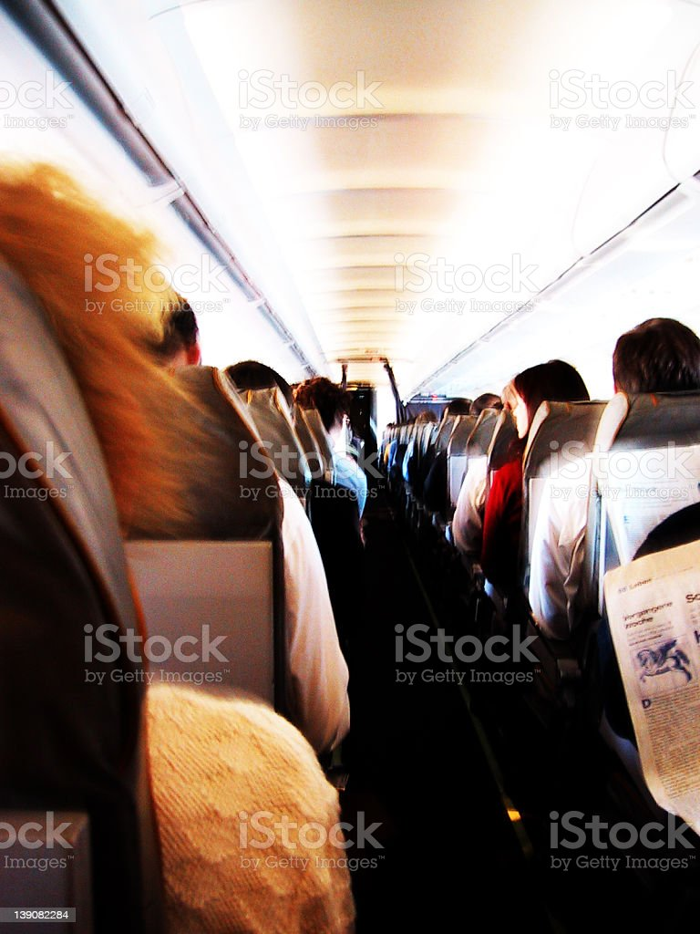 inside an airplane royalty-free stock photo