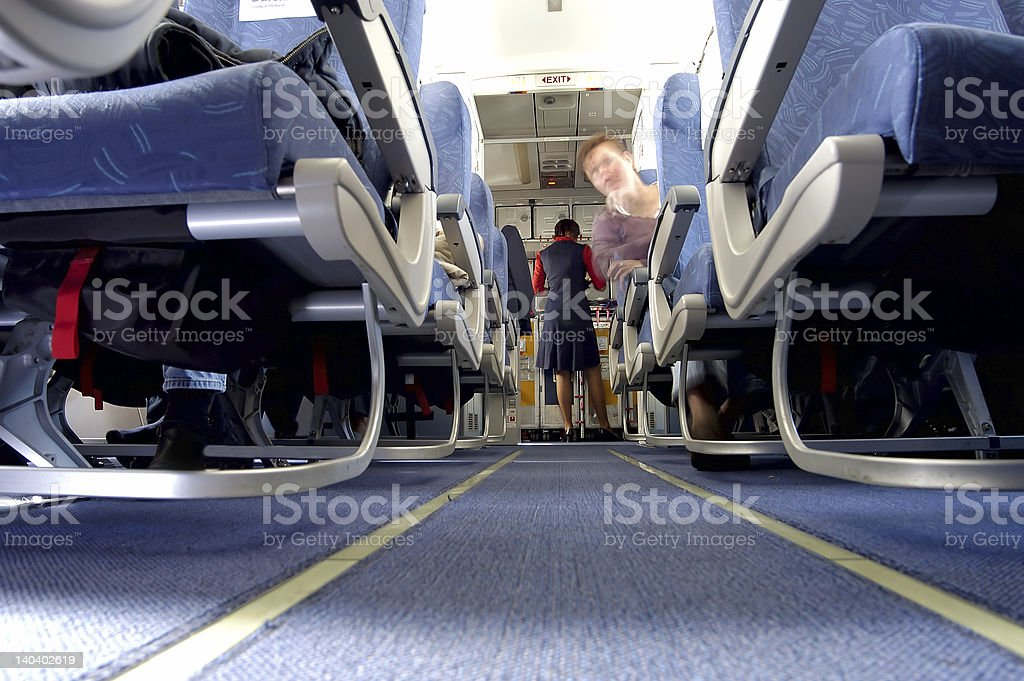 inside an airplane stock photo