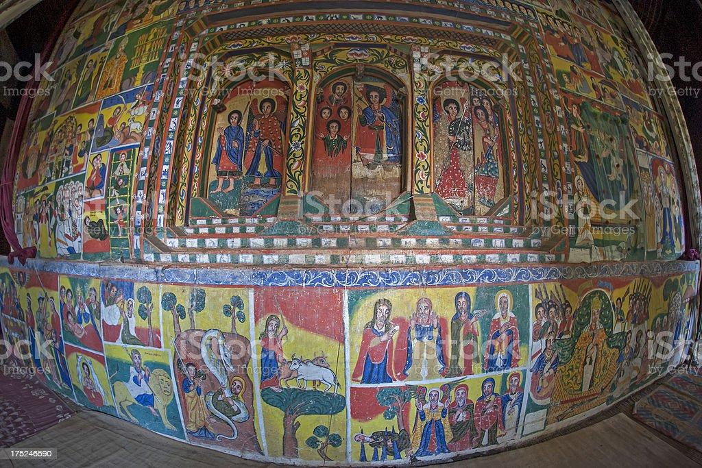 Inside an ancient Ethiopian Orthodox Church at Lake Tana stock photo