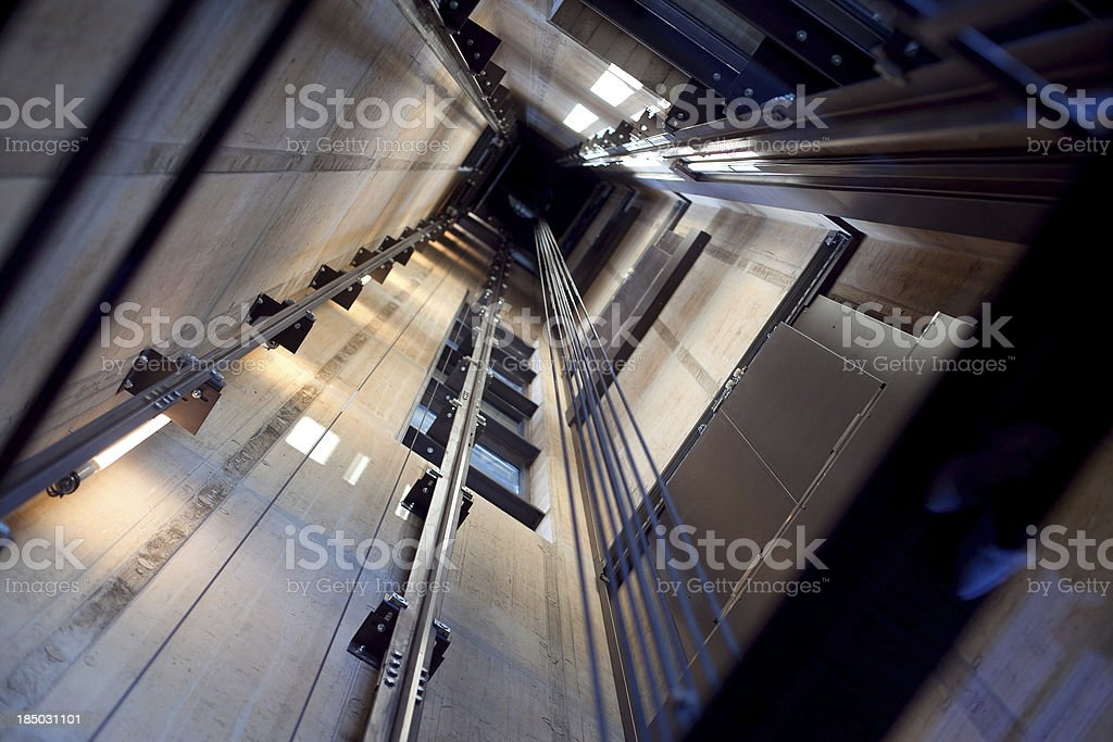 Inside an Elevator Shaft stock photo