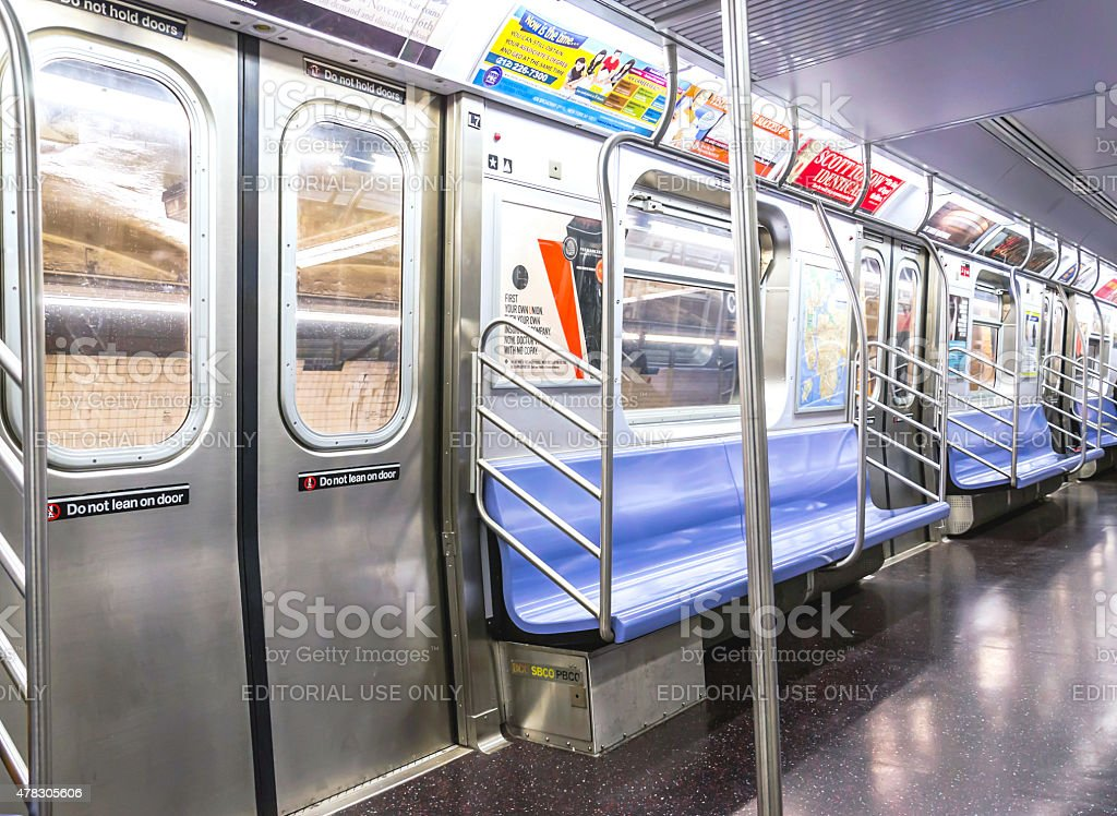 Inside an Empty New York City Subway Train stock photo