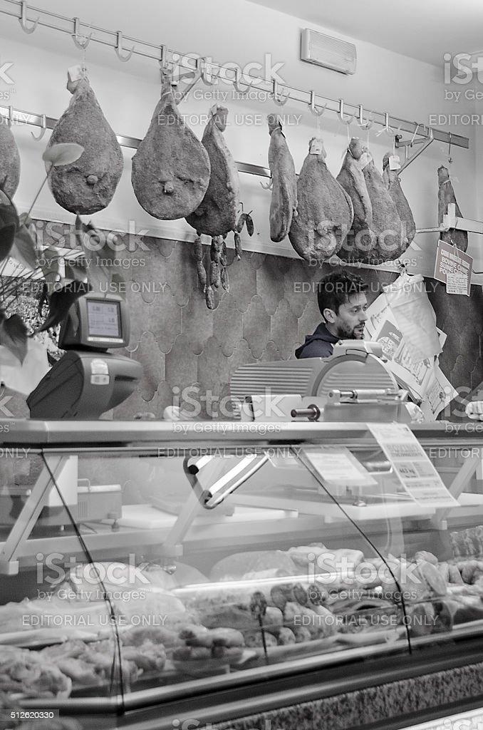 Inside an Italian Butcher Shop stock photo