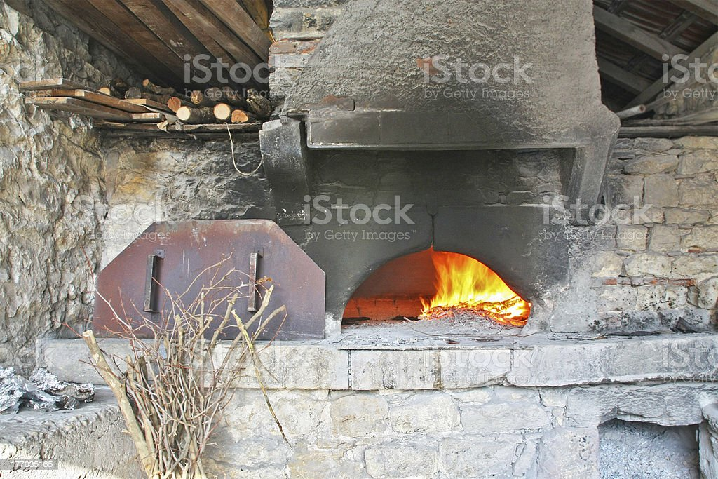 Inside an old bread oven of 1946 stock photo
