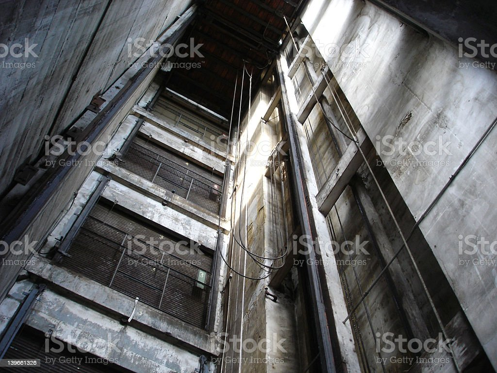 Inside an Old Elevator Shaft stock photo
