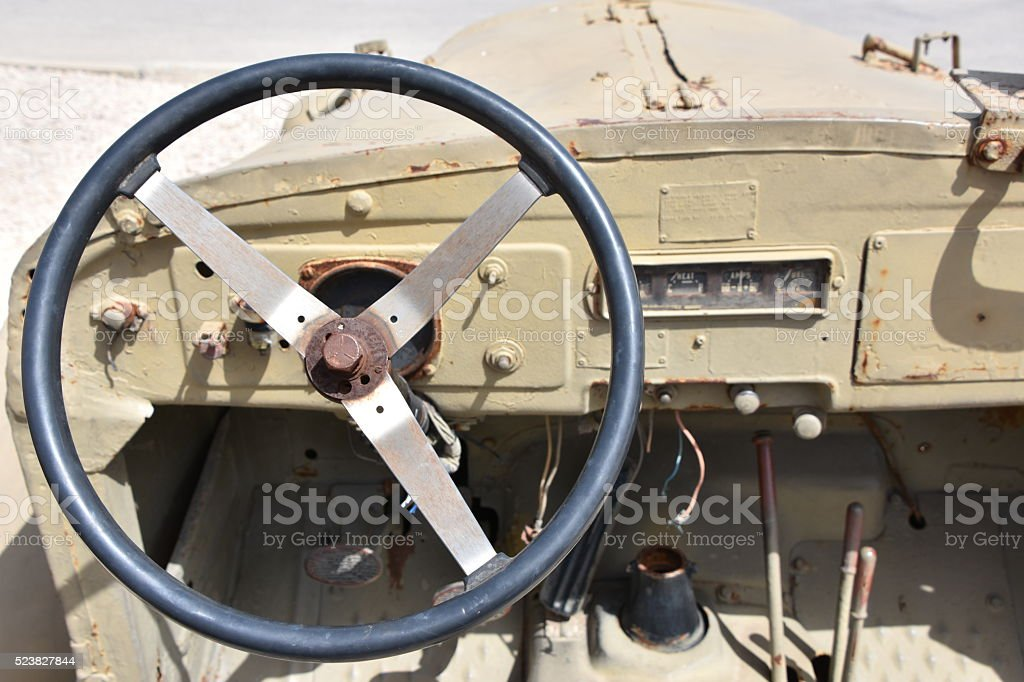 inside an old military vehicle stock photo