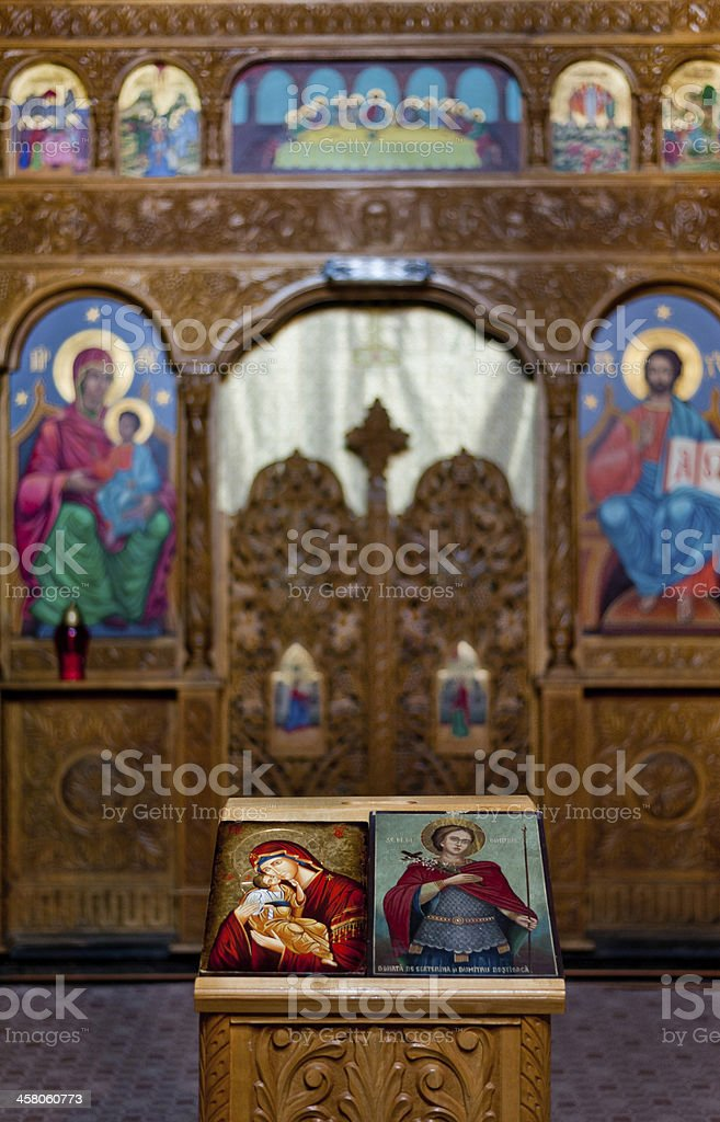 Inside an Orthodox church stock photo