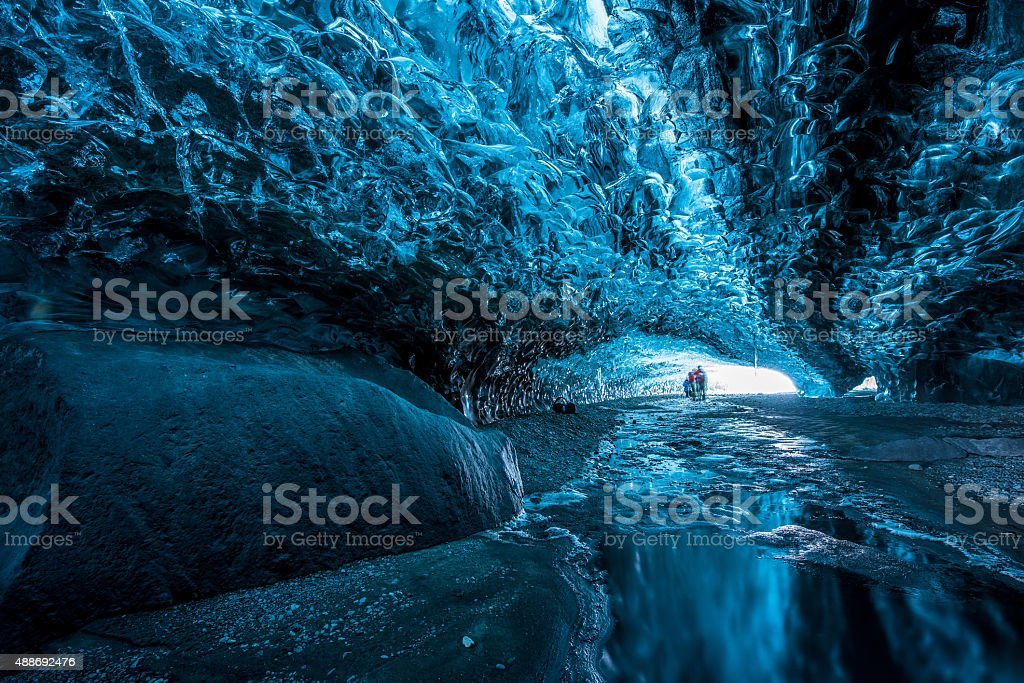 Inside and Ice cave stock photo