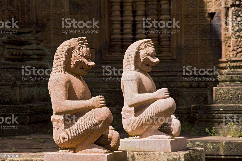 Inside Banteay Srei temple in Angkor, Cambodia royalty-free stock photo