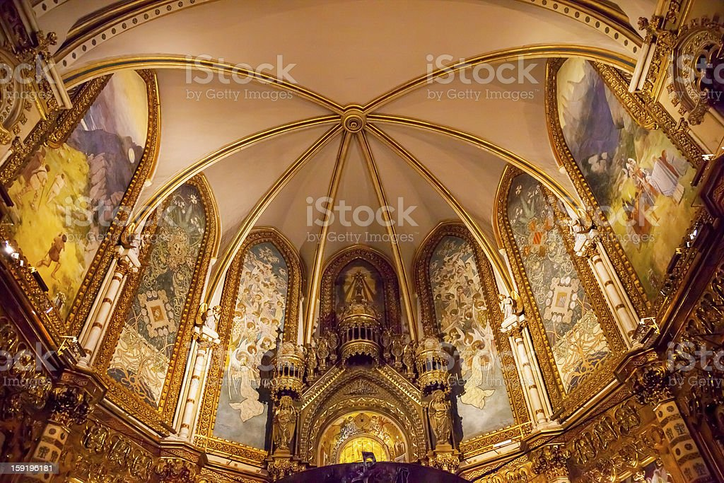 Inside Basilica Monestir Monastery of Montserrat Barcelona Catalonia Spain stock photo