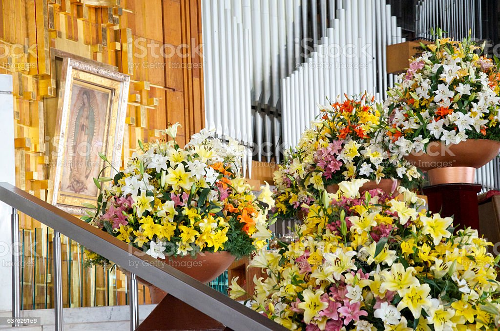 Inside Basilica of Our Lady of Guadalupe in Mexico City stock photo
