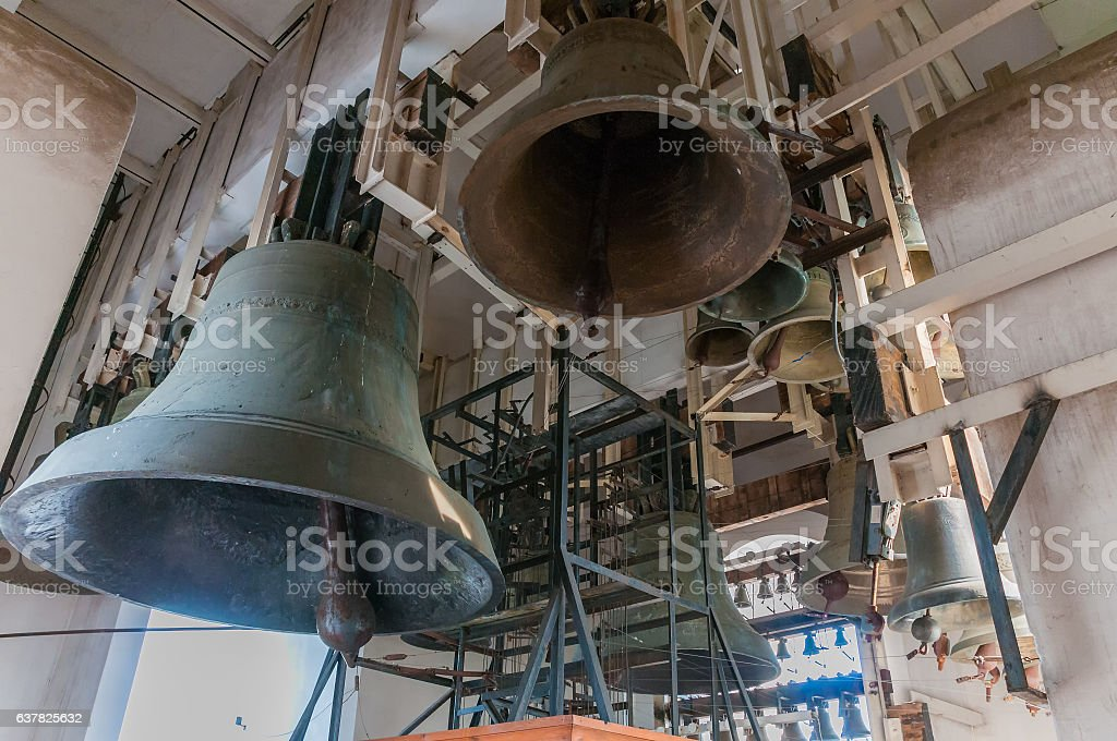Inside bell tower Saint Michael's Golden-Domed Cathedral, Kiev stock photo