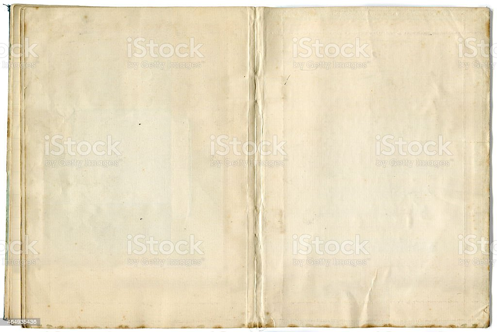 Inside Blank Pages of Old Notebook (includes Clipping Path) stock photo