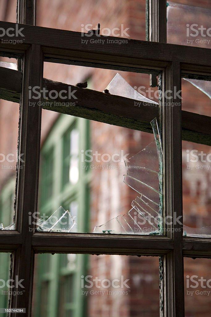 Inside Broken Window royalty-free stock photo