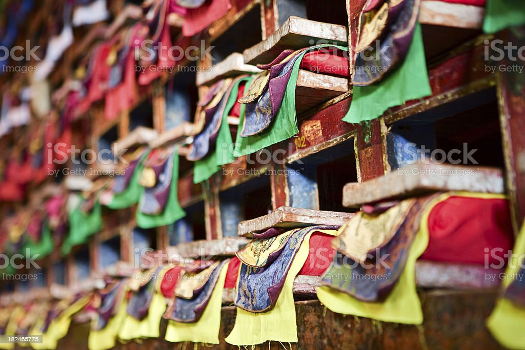 Inside buddhist gompa in Mt Everest National Park stock photo