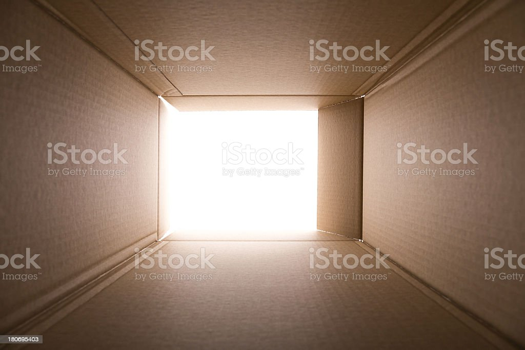 view from inside empty open cardboard boxsee my