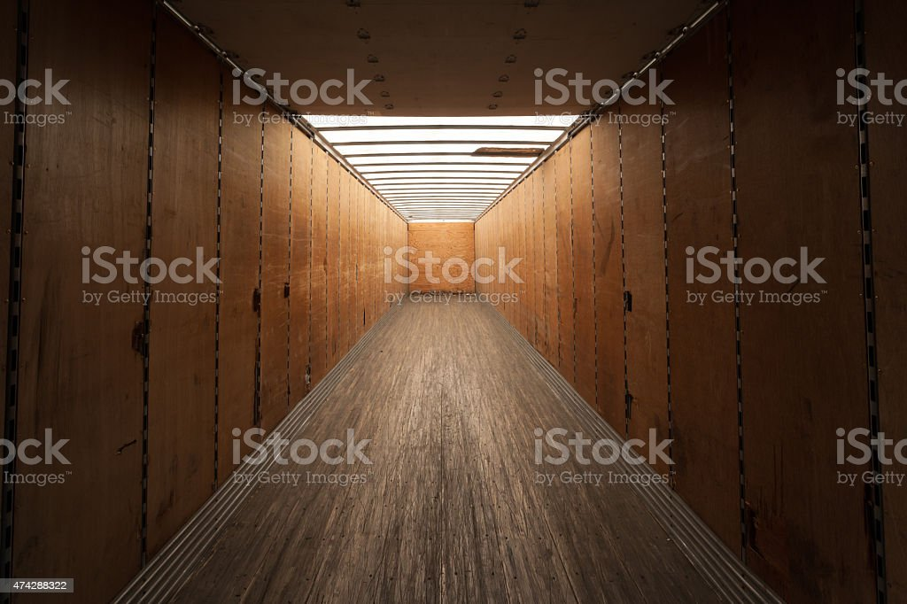 Inside cargo container stock photo