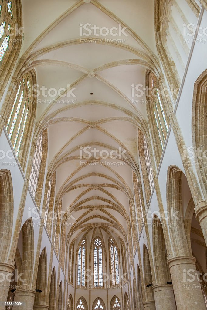 Inside Cathedral of St Nicholas (Lala Mustafa Pasha Mosque), Famagusta stock photo