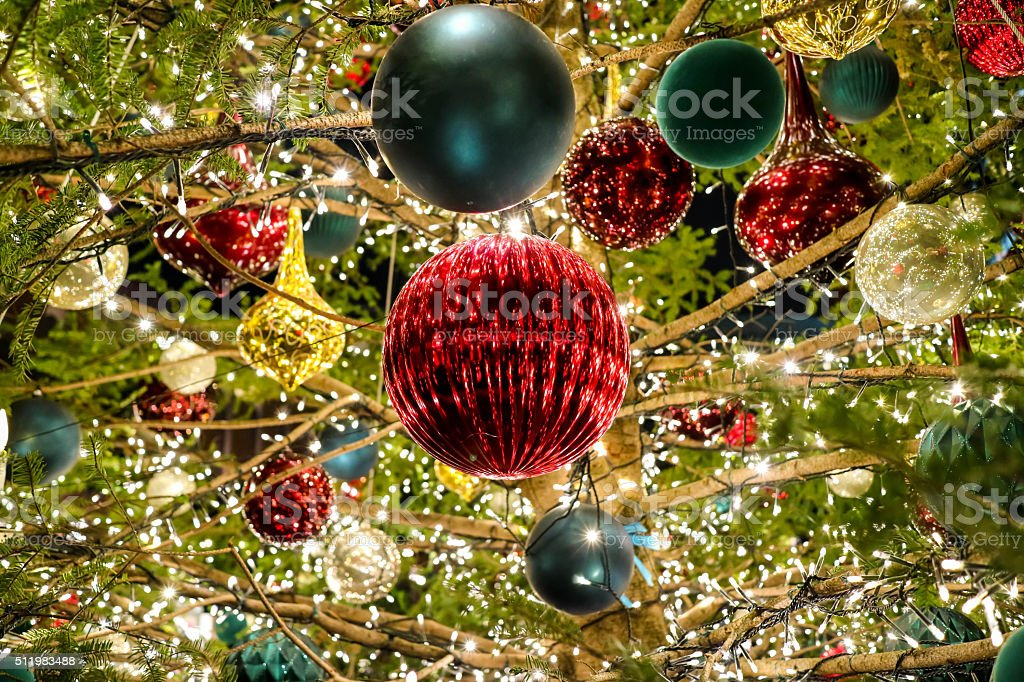 Inside Christmas tree Another world stock photo