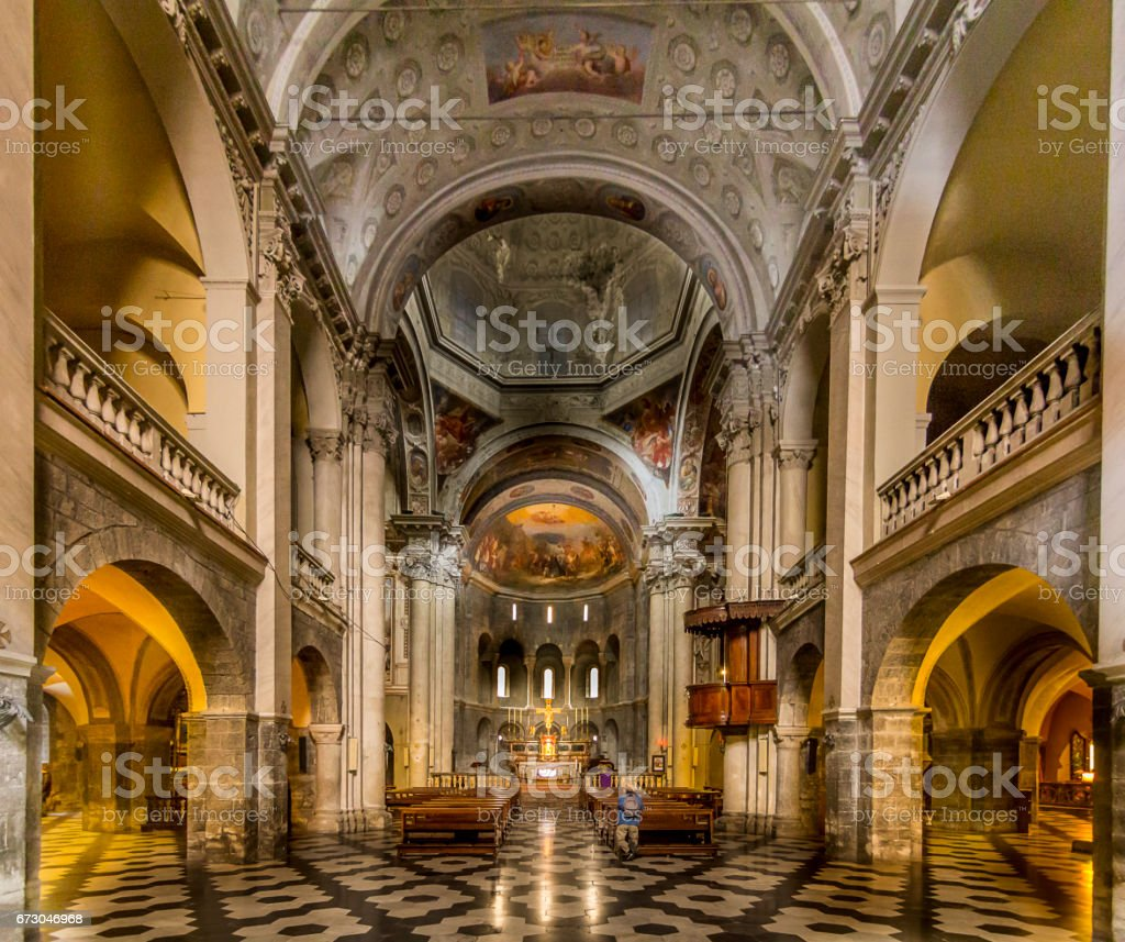 Inside Church of San Fedele, Como, Italy, 12th century stock photo