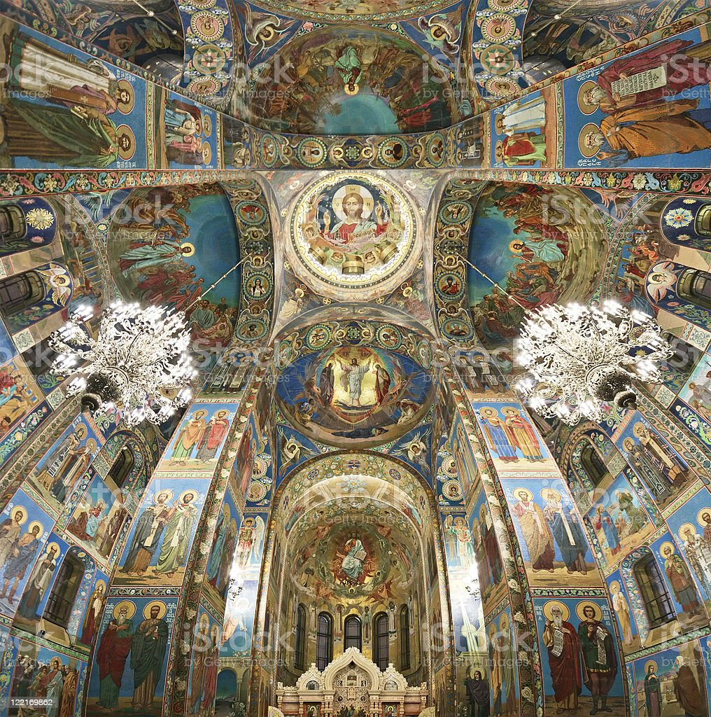 Inside Church on Spilled Blood, St. Petersburg, Russia stock photo