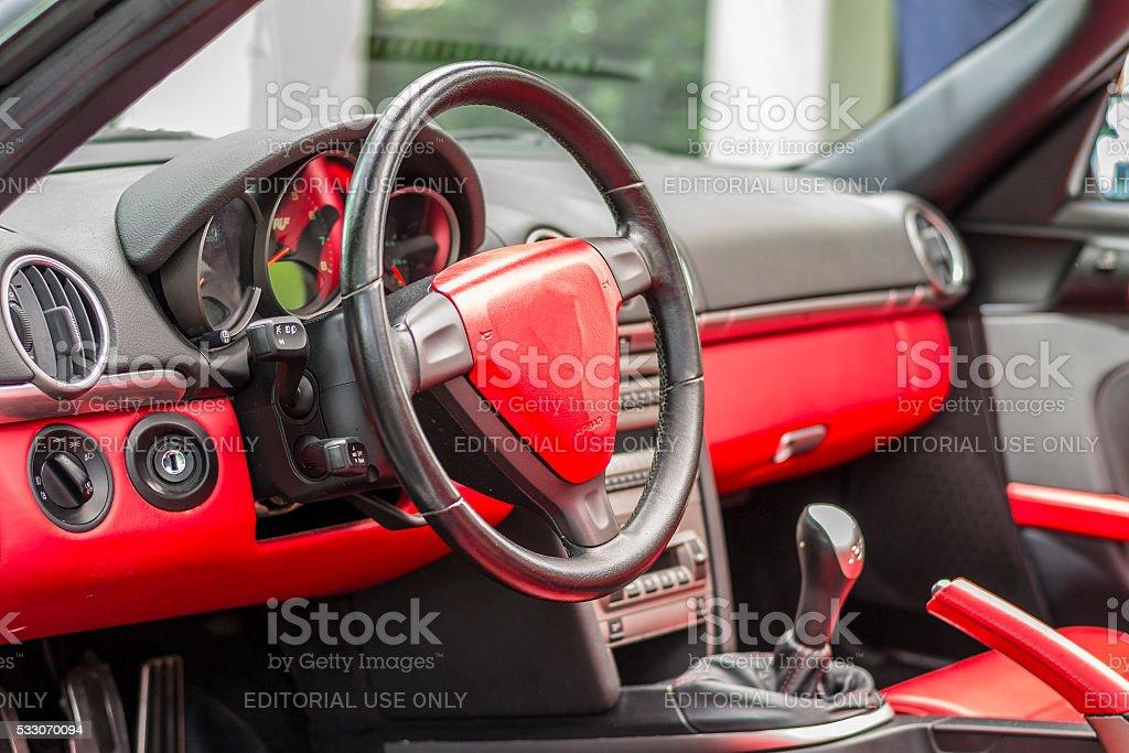 Inside cockpit of a sports car stock photo