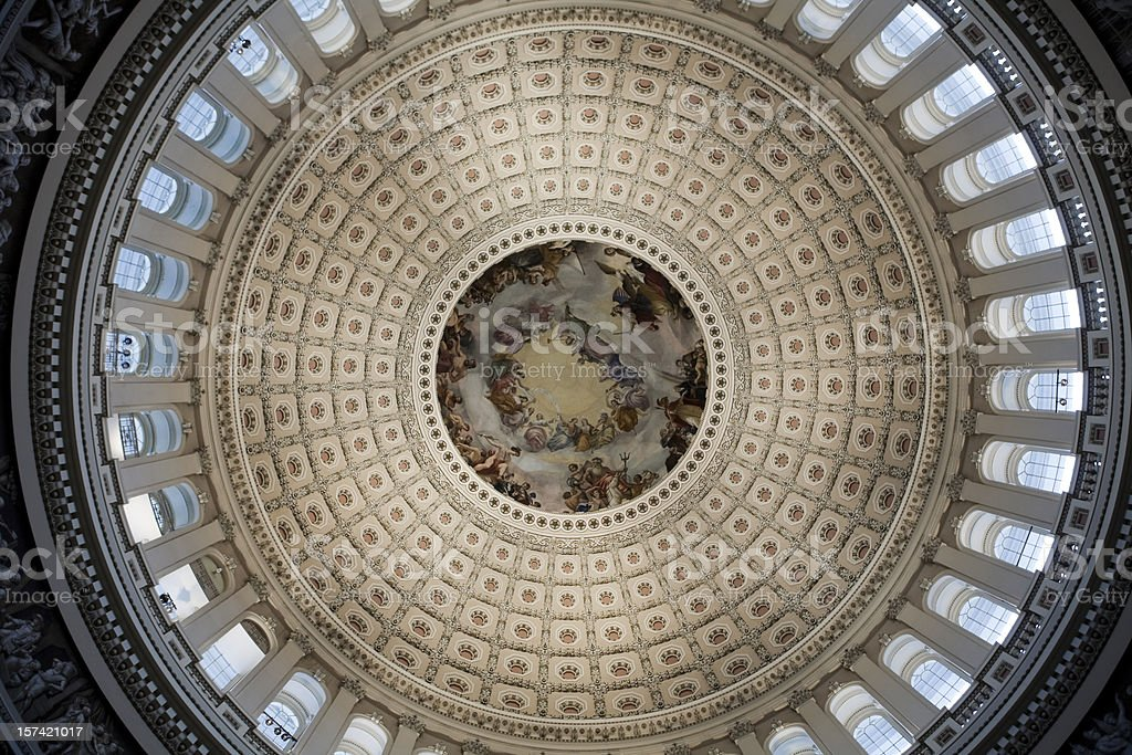 Inside Congress Capitol Building Dome, Washington DC royalty-free stock photo