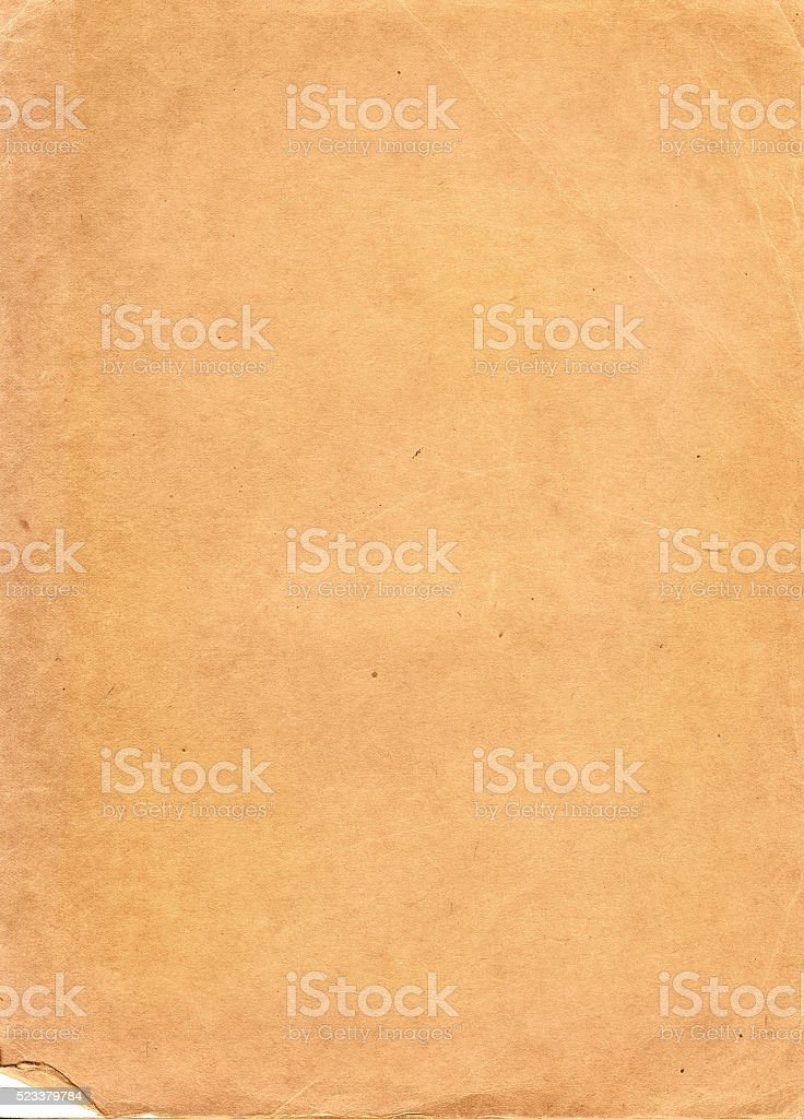 Inside cover of a yellowed book stock photo