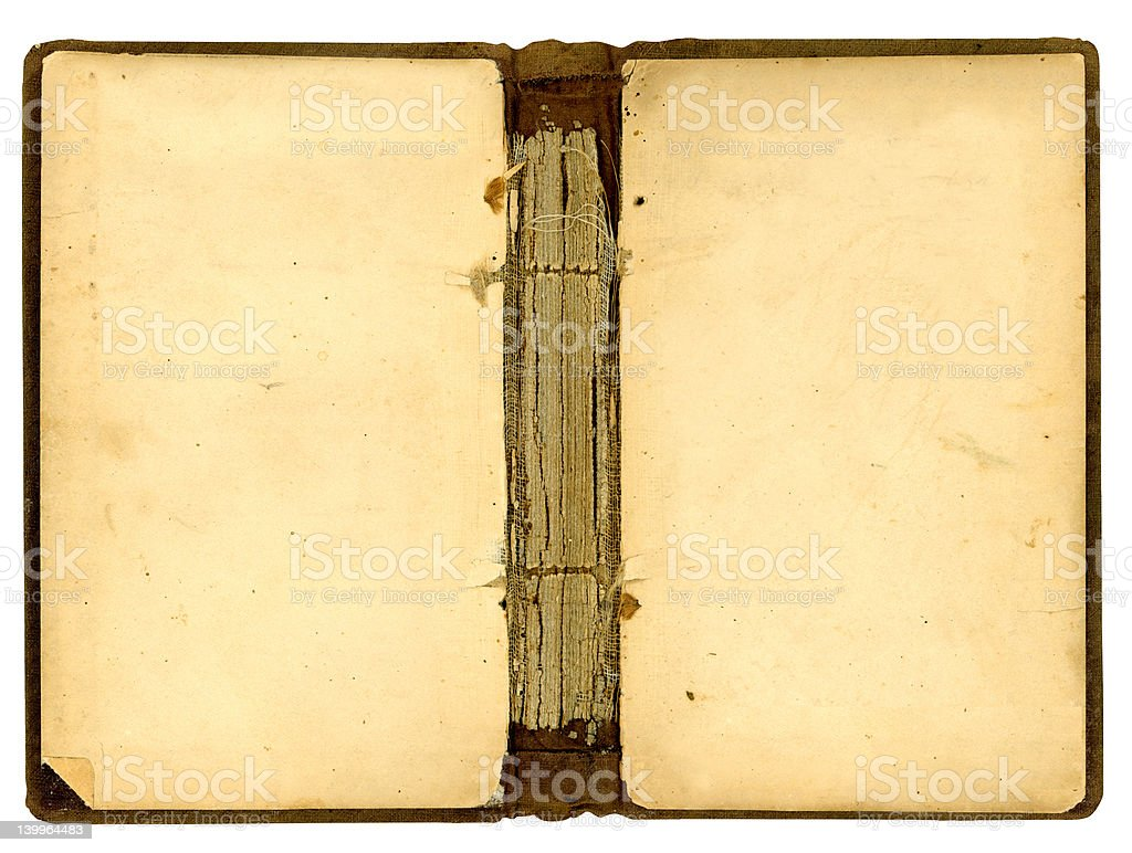 Inside cover of old antique book stock photo