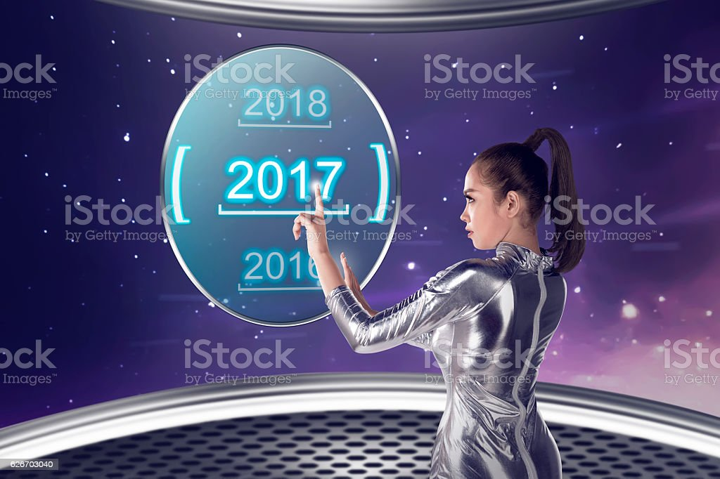 Inside cyber world. 2017 new year concept stock photo