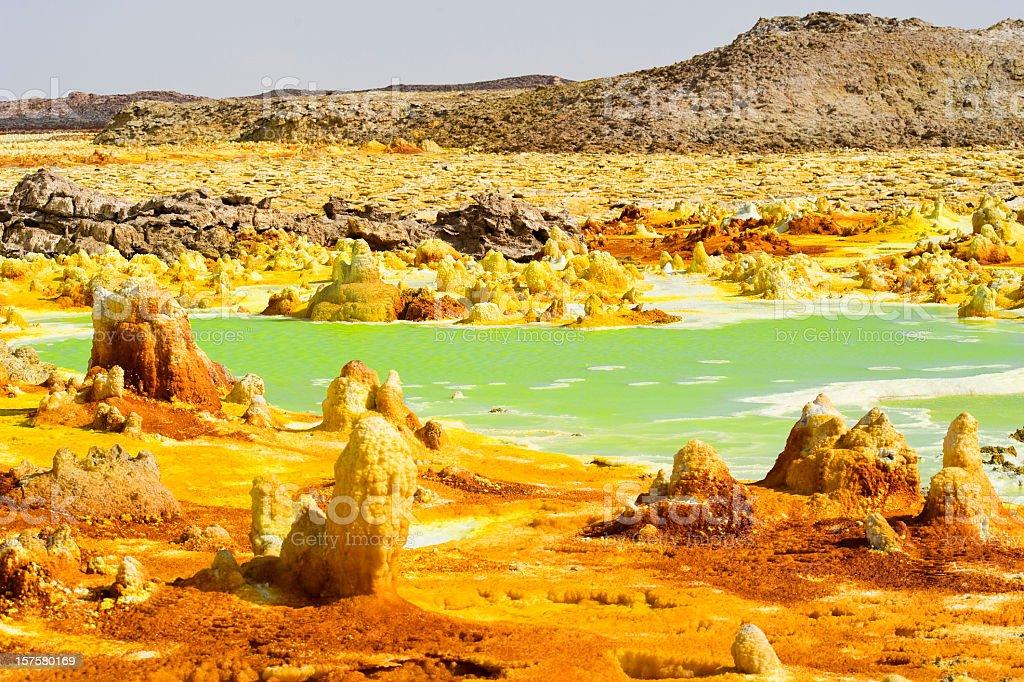 Inside Dallol volcano crater at Danakil Depression Ethiopia stock photo