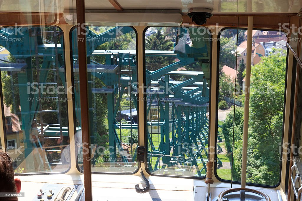 Inside Dresden Suspension Railway car, Germany stock photo