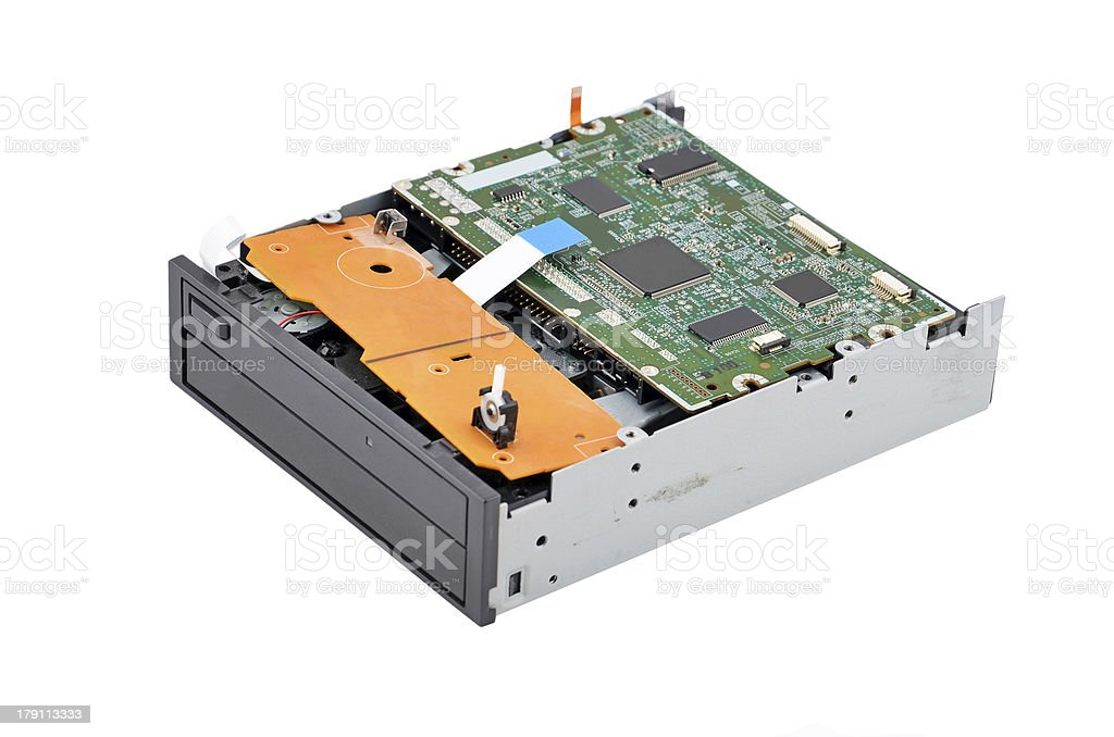 Inside dvd disk drive royalty-free stock photo