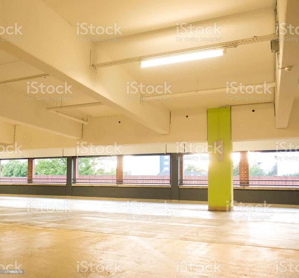Inside Empty Parking Garage in daylight stock photo