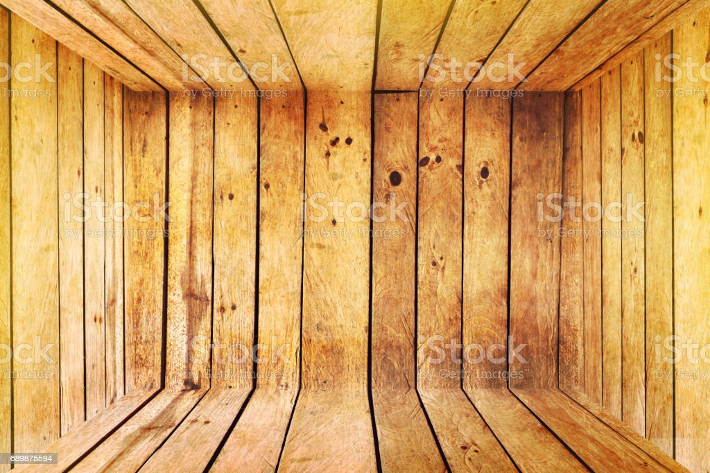 inside empty wooden box by top view