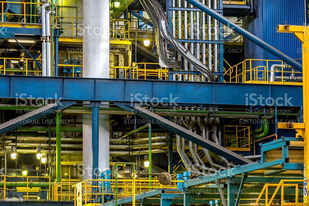 Inside factory area, steel plant, Cherepovets, Russia royalty-free stock photo