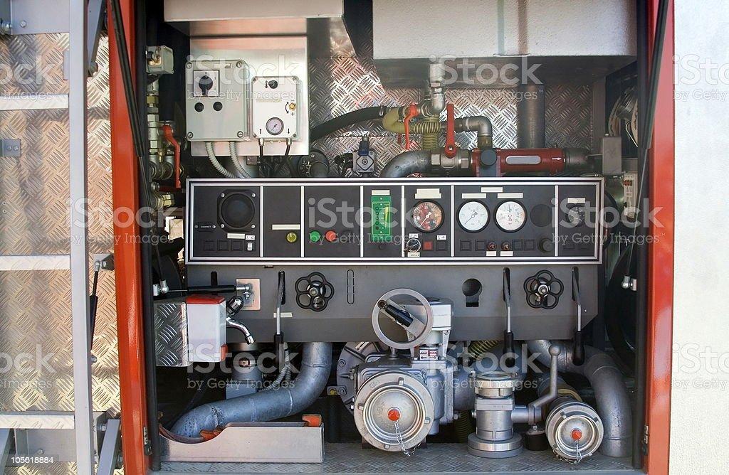 Inside firetruck stock photo