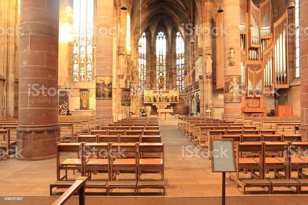 Inside Frauenkirche Nuremberg stock photo