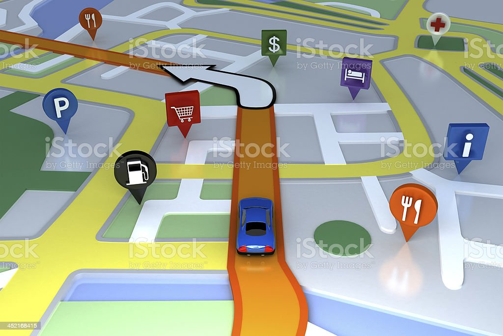 Inside GPS animation. stock photo