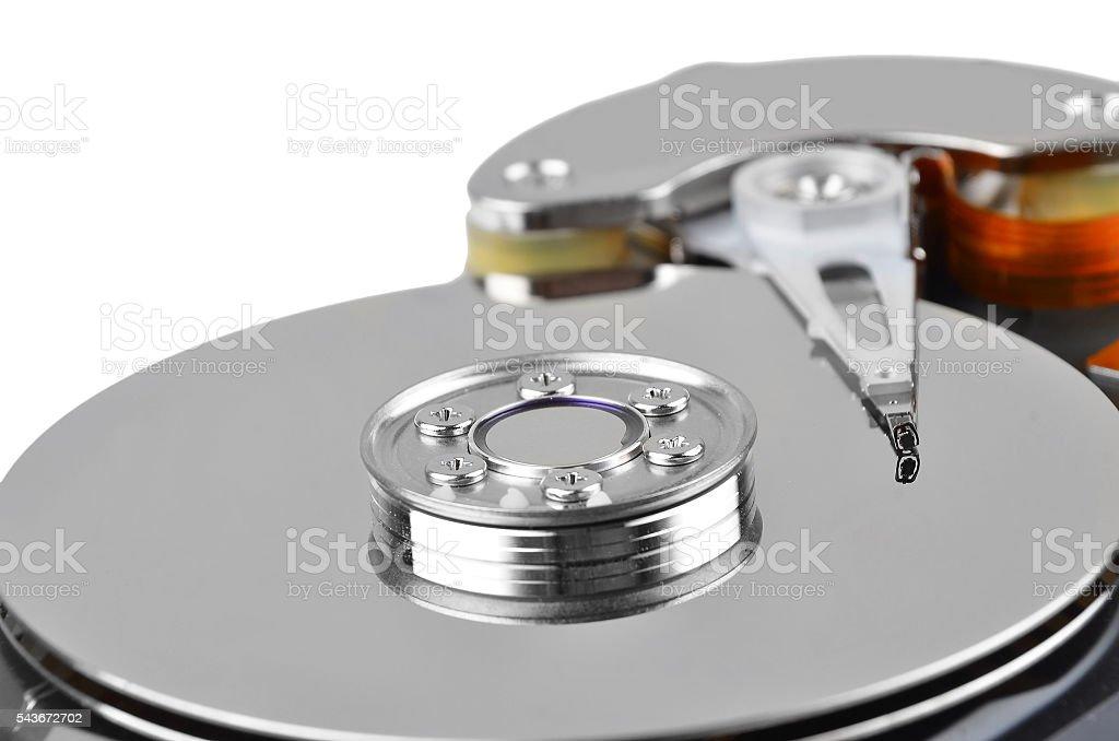 Inside hard disk drive stock photo