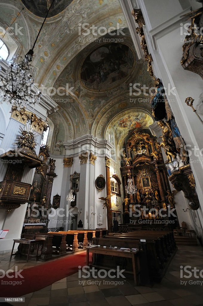Inside HDR Church of Mariahilf (Vienna) in 6th district royalty-free stock photo