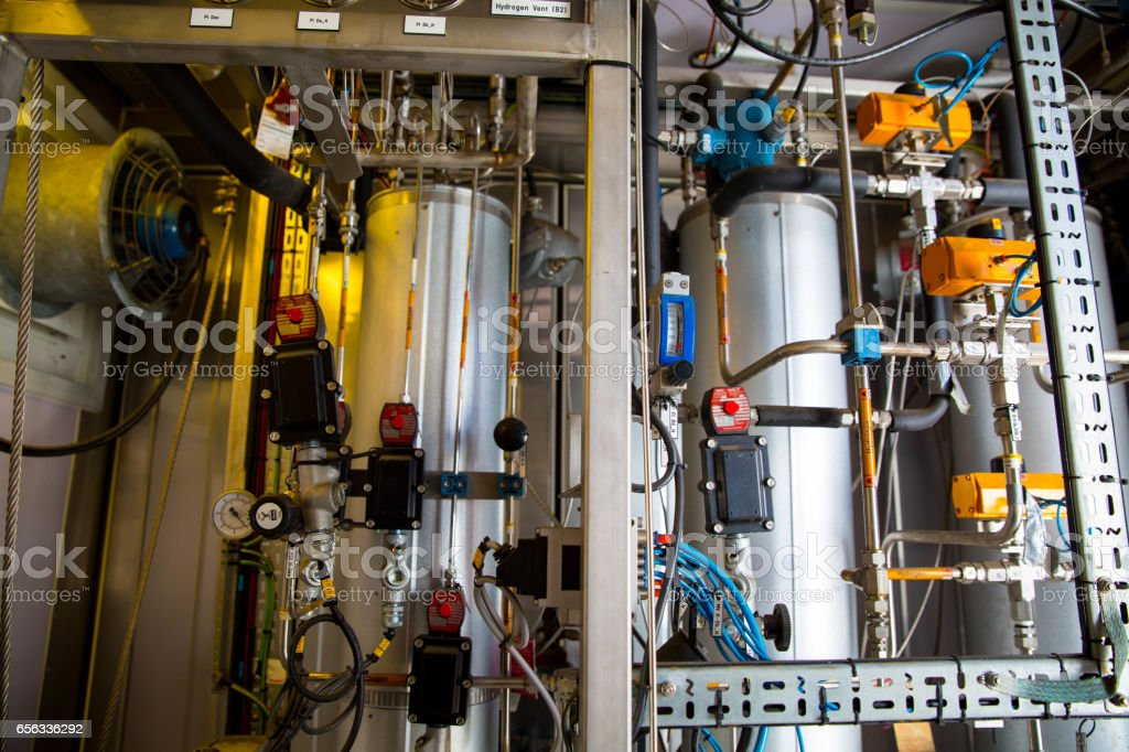 Inside Hydrogen Fill Station stock photo