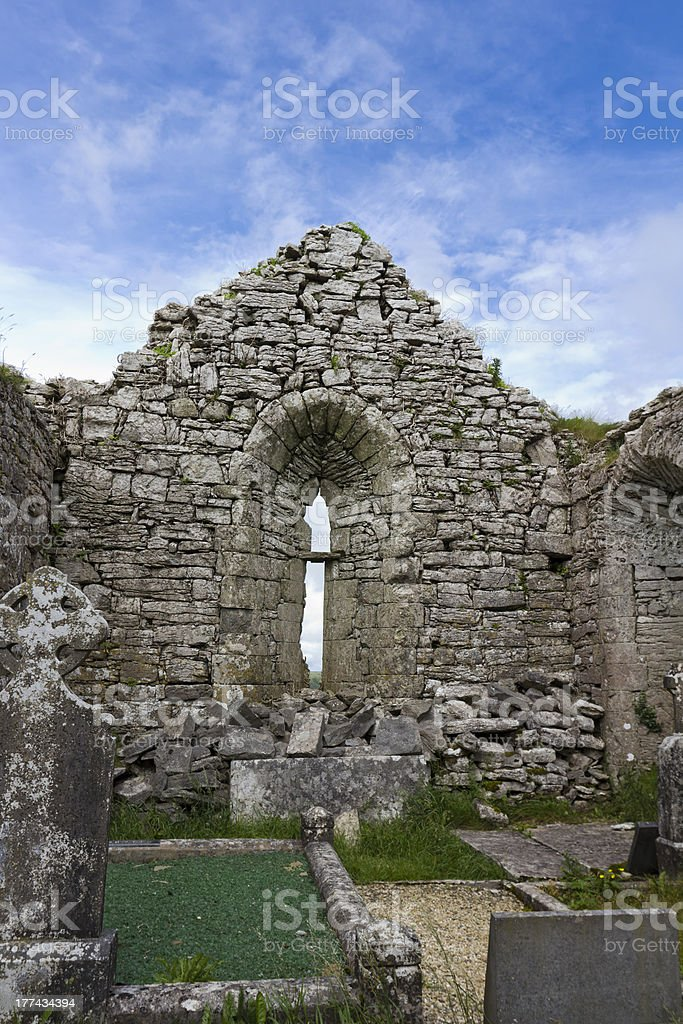 Inside Ireland's Carran Church royalty-free stock photo