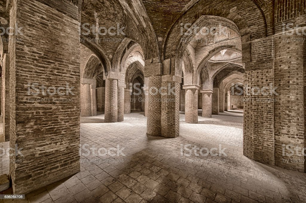 Inside Jameh Mosque of Isfahan, Iran stock photo