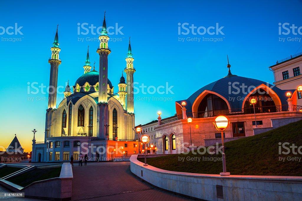 Inside Kazan Kremlin, Russia at night stock photo