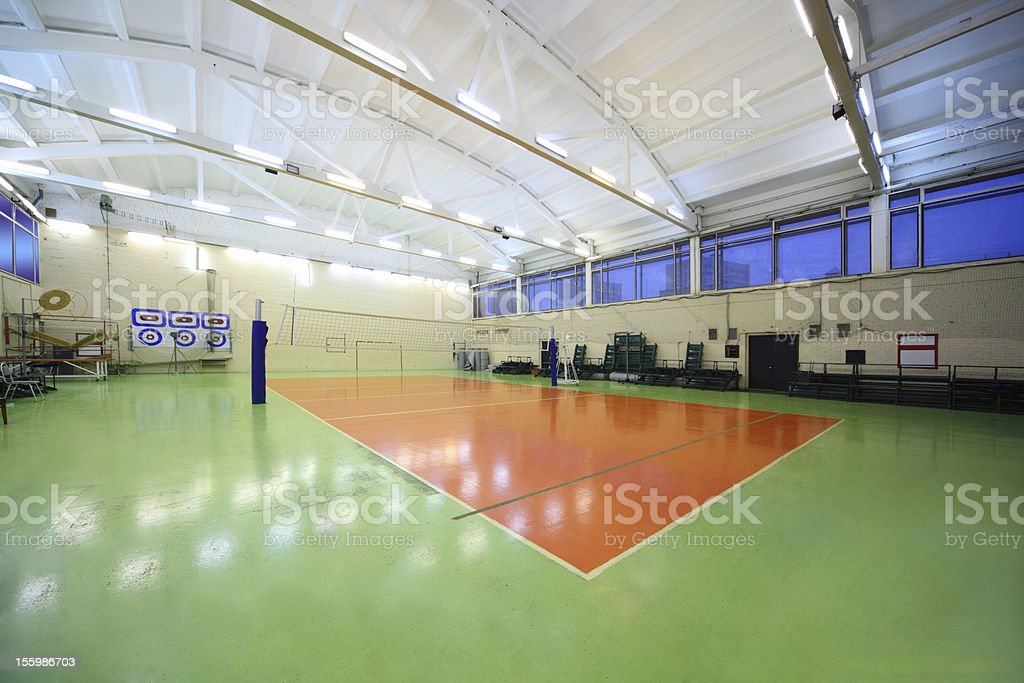 Inside lighted school gym hall royalty-free stock photo