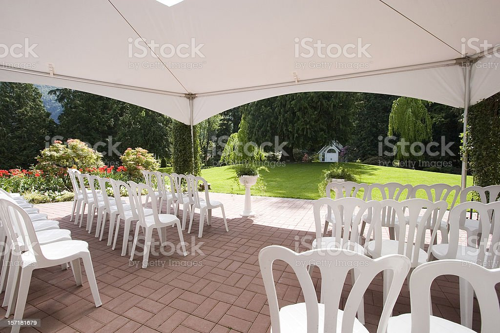 Inside marquee - looking forwards stock photo