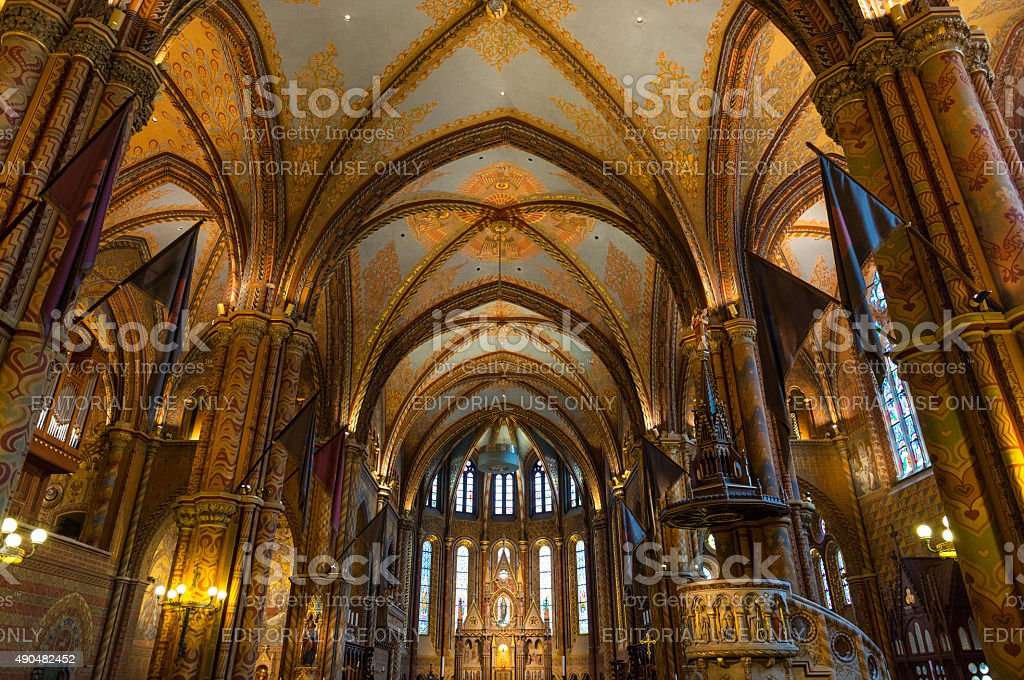 Inside Matthias church in Budapest, Hungary stock photo