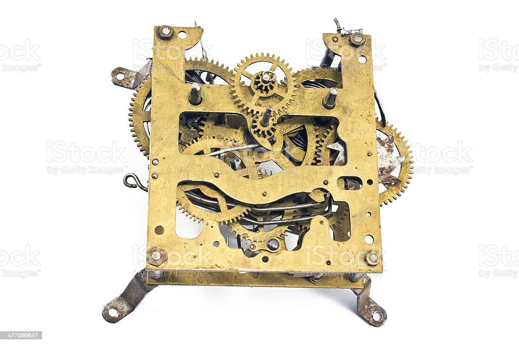 Inside mechanism of old alarm clock royalty-free stock photo