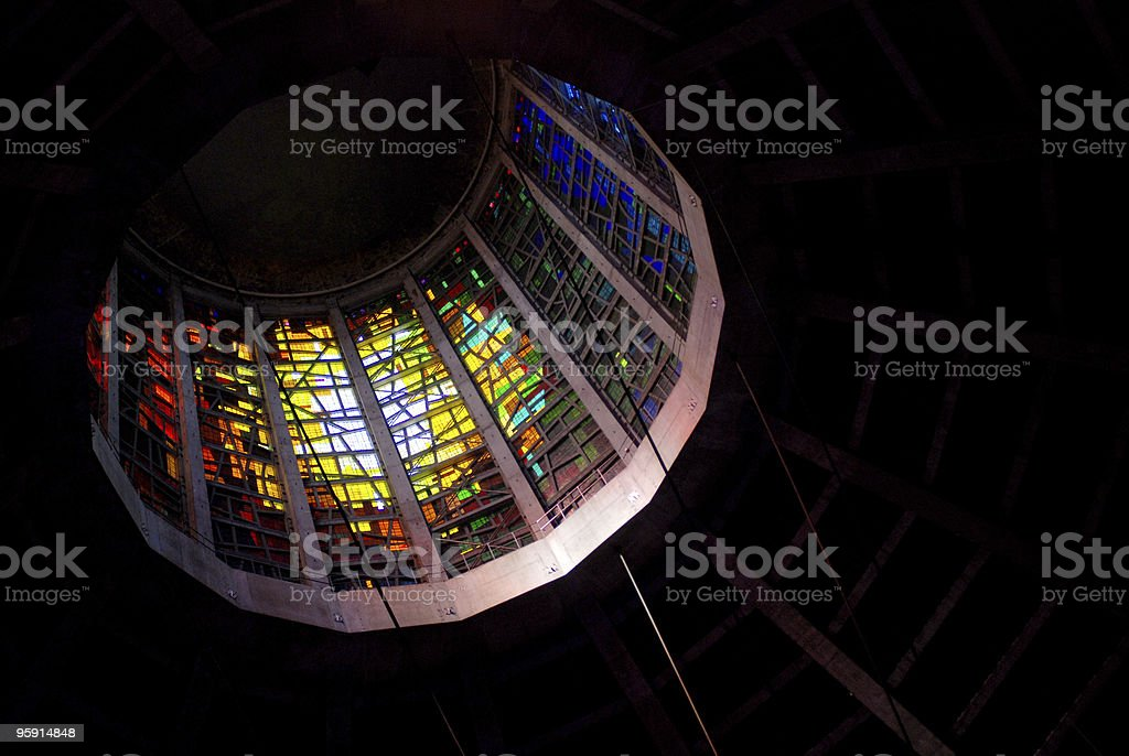 Inside Metropolitan Cathedral of Christ the King in Liverpool royalty-free stock photo