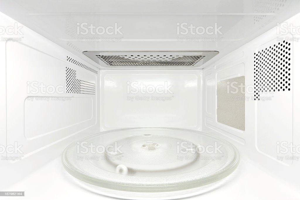 Inside microwave oven, frontal view stock photo